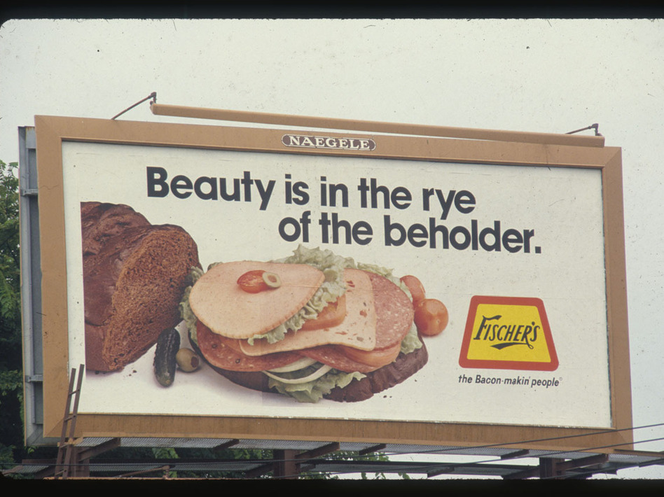 A sandwich close-up featuring Fischer's deli meats, circa 1983. (Outdoor Advertising Association of America, Inc., via Duke University)