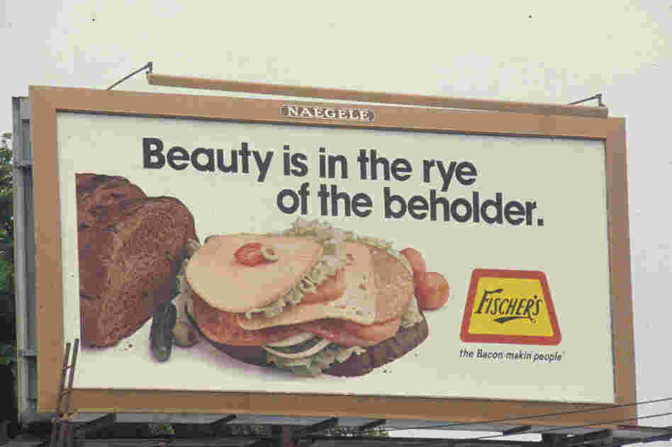 A sandwich close-up featuring Fischer's deli meats, circa 1983.