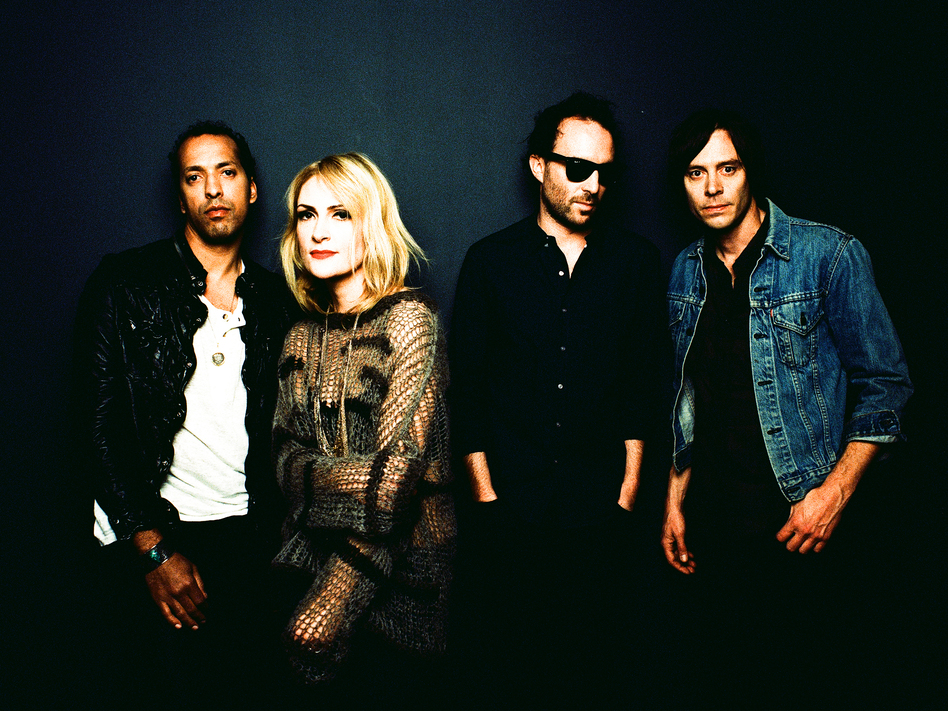 Metric's new album, its second on the band's own label, is titled Synthetica. Left to right: Joshua Winstead, Emily Haines, James Shaw, Joules Scott-Key.