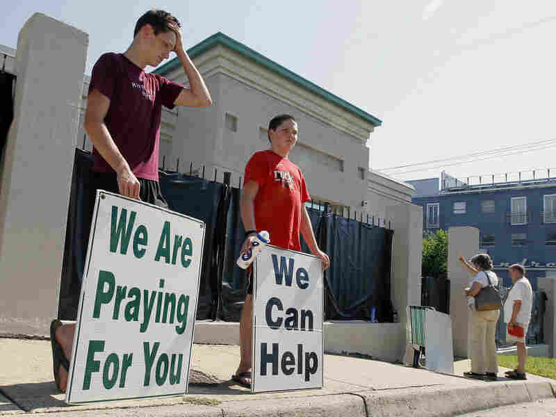 Abortion opponents demonstrate outside Mississippi's only abortion clinic in Jackson.