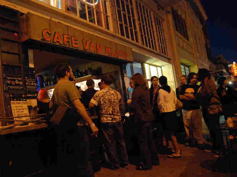 People line up outside Cafe Van Kleef in Oakland.