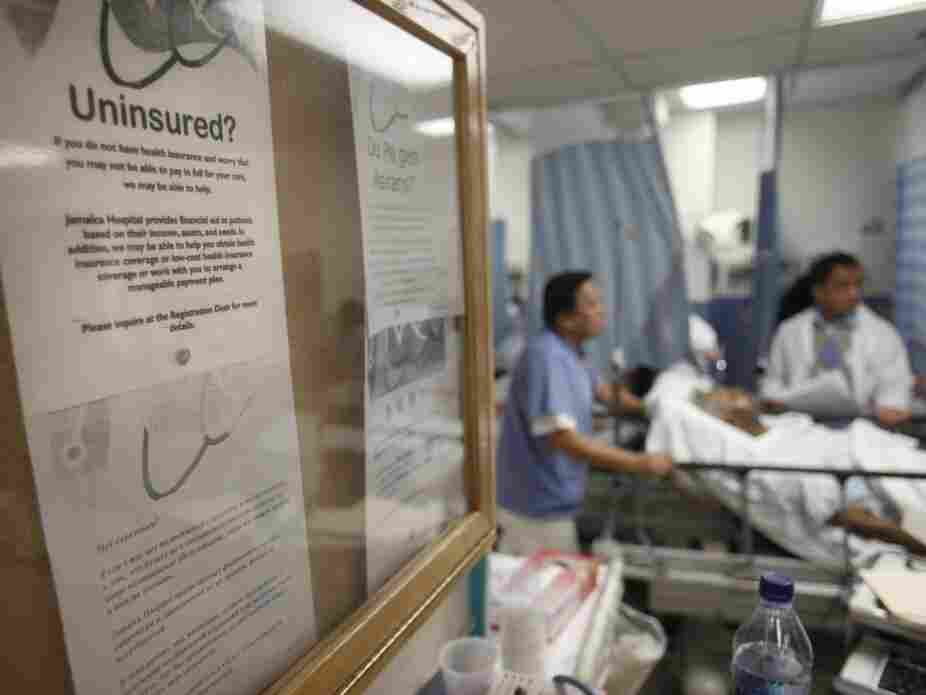 A bulletin board in New York's Jamaica Hospital offers advice for uninsured patients.