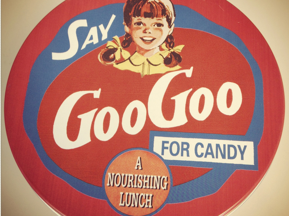 "Vintage advertising for GooGoo Clusters promote the candy as ""a nourishing lunch."" (NPR)"