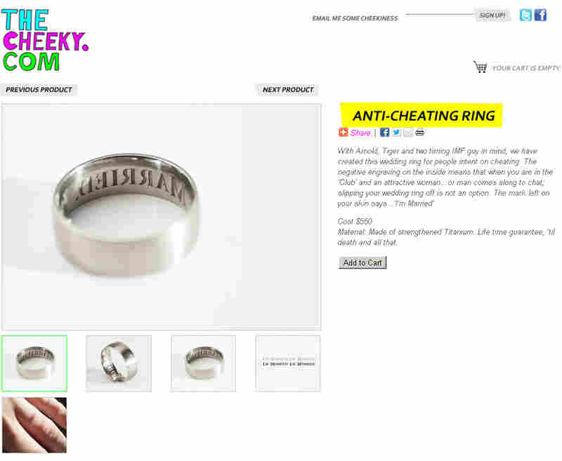 "The ""Anti-Cheating Ring"" imprints ""I'M MARRIED"" around a would-be philanderer's finger."