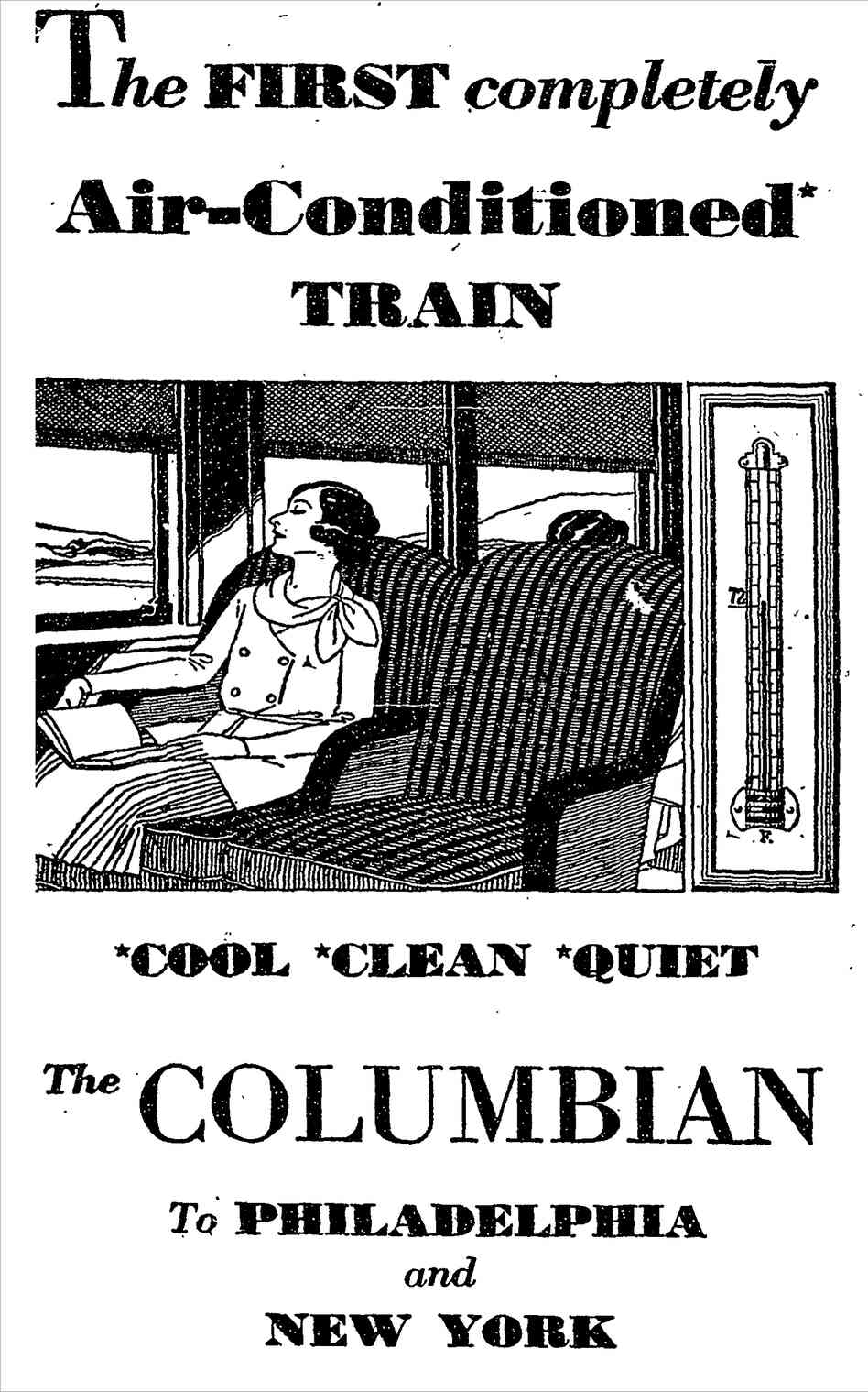 A series of 1931 newspaper ads touted the latest comfort for rail passengers on the B&O's Columbian line.