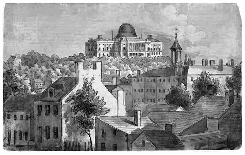 A view of Washington City in the 1830s, looking east toward the Capitol.