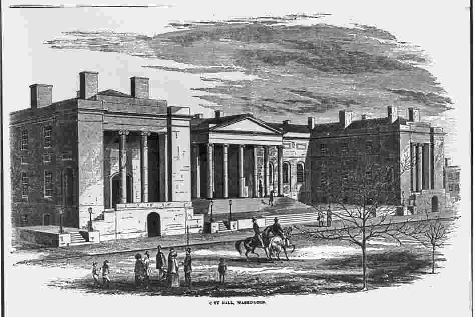 City Hall in Washington's Judiciary Square, where Francis Scott Key prosecuted Bowen for the attempted murder of Thornton in November 1835.