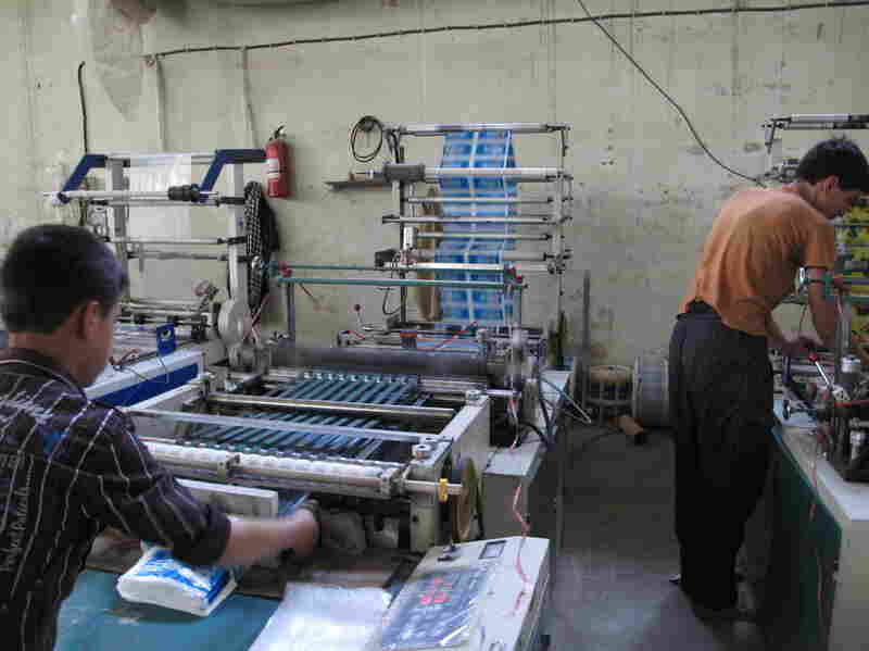 "The Omid Plastic Making Factory in Kabul manufactures plastic bags. Even though the industrial park where it's located was supposed to guarantee full power, the factory often relies on a generator. ""There is no industrial power for us. We are using the same power as normal people,"" says factory manager Abdul Qadida Sozai."