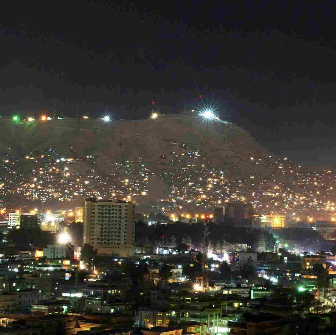 Afghanistan produces about half the power it currently uses and imports the other half from neighboring countries. But that total still doesn't meet the country's demands. This photo shows Kabul at night in January.