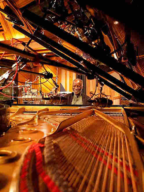 Ahmad Jamal at the grand piano during the Blue Moon sessions.