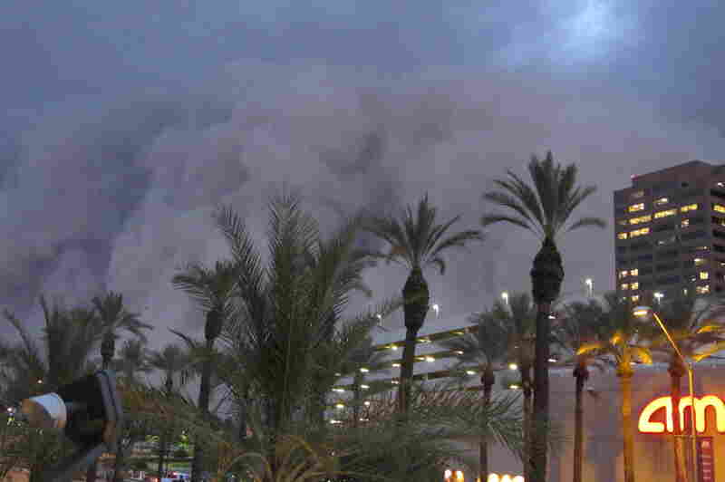 HABOOB: A 100-mile-wide dust storm rolls into downtown Phoenix on July 5, 2011, bringing strong winds and low visibility.
