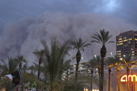 <strong>HABOOB:</strong> A 100-mile-wide dust storm rolls into downtown Phoenix on July 5, 2011, bringing strong winds and low visibility.