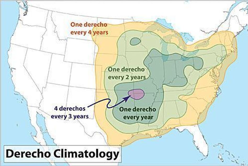 Where you're most likely to be in the path of a derecho, and how often.