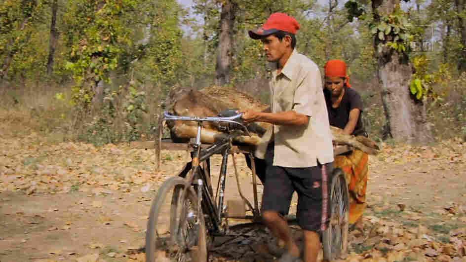 Workers serve a goat at a Jatayu restaurant or vulture restaurant.