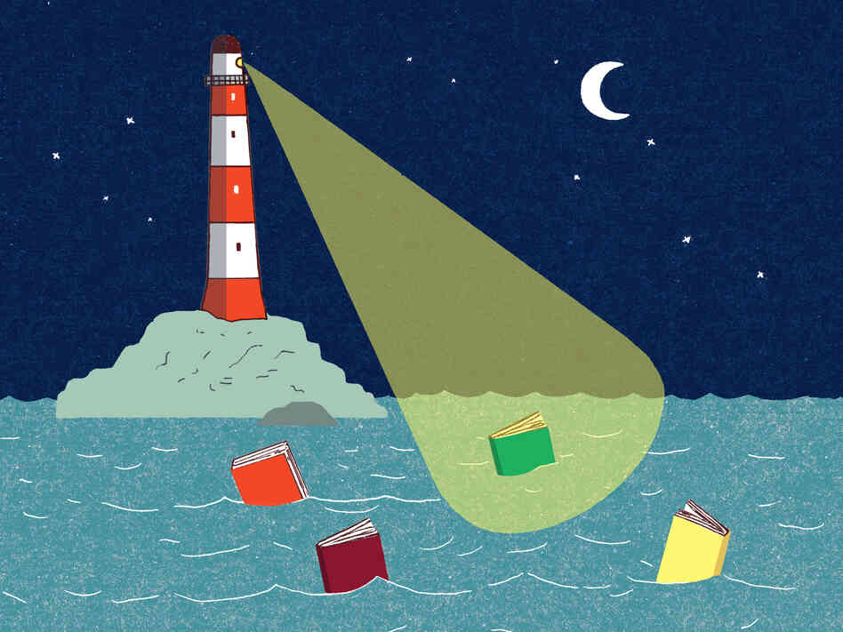 Illustration: A lighthouse casts its beam on a book in the water.