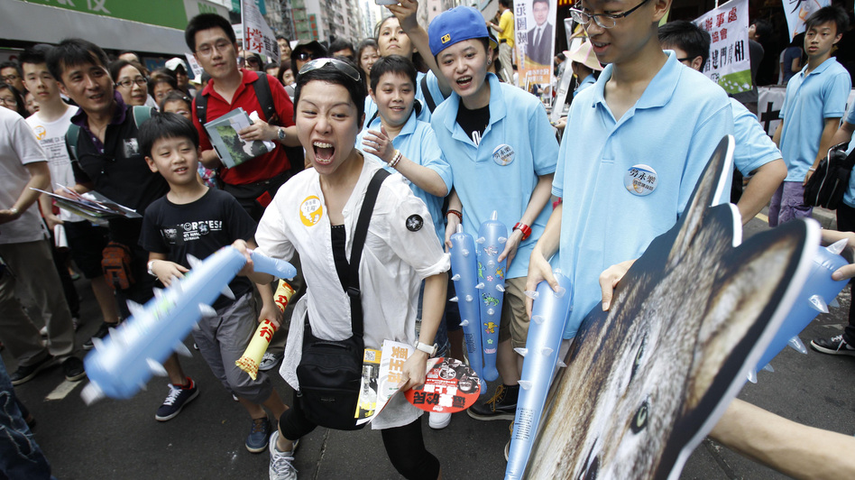 A protester hits a picture of a wolf representing Leung Chun-ying during a pro-democracy protest march in Hong Kong on Sunday, the anniversary of the island's handover to China. There is rising public discontent over widening inequality and a lack of full democracy in the southern Chinese financial center. (AP)