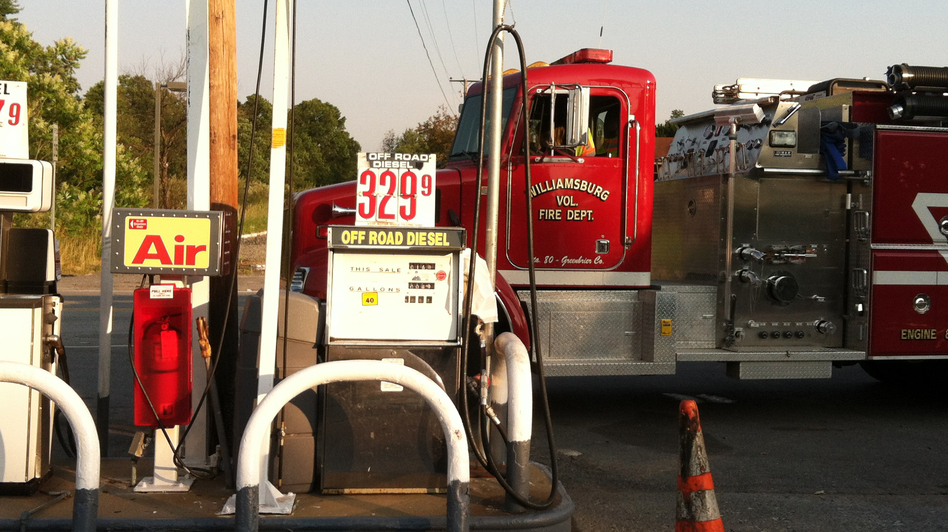 Members of the Williamsburg Volunteer Fire Department were unable to find fuel at a station in Crawley, W.Va. Elsewhere, people waited in line for hours for the chance to fill up. (NPR)