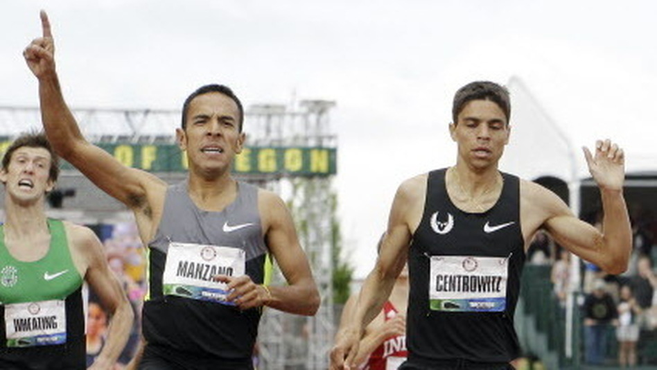 Leonel Manzano leads Matthew Centrowitz to the finish in the men's 1500 meter final at the U.S. Olympic Track and Field Trials Sunday, July 1, 2012, in Eugene, Ore. Manzano came in first and Centrowitz crossed second. Both made the Olympic team. (AP Photo/Eric Gay) (AP)