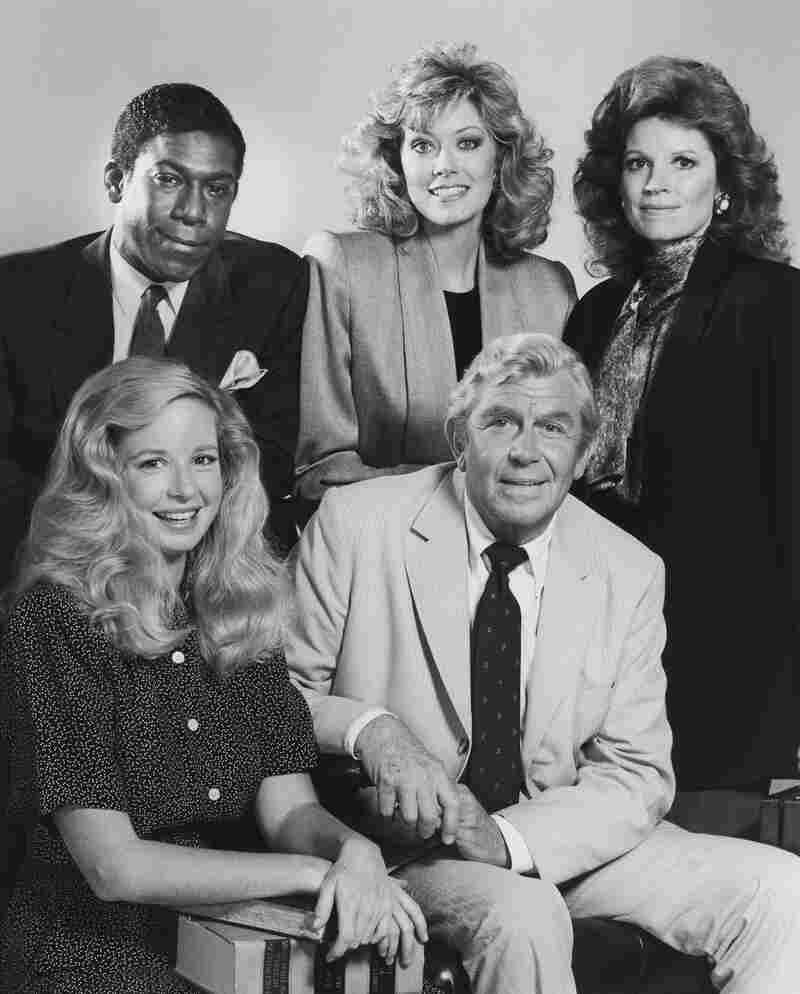 In the drama Matlock, Kene Holliday (top left), Nancy Stafford, Julie Sommars, Griffith and Kari Lizer played a criminal defense team that often came out on top.