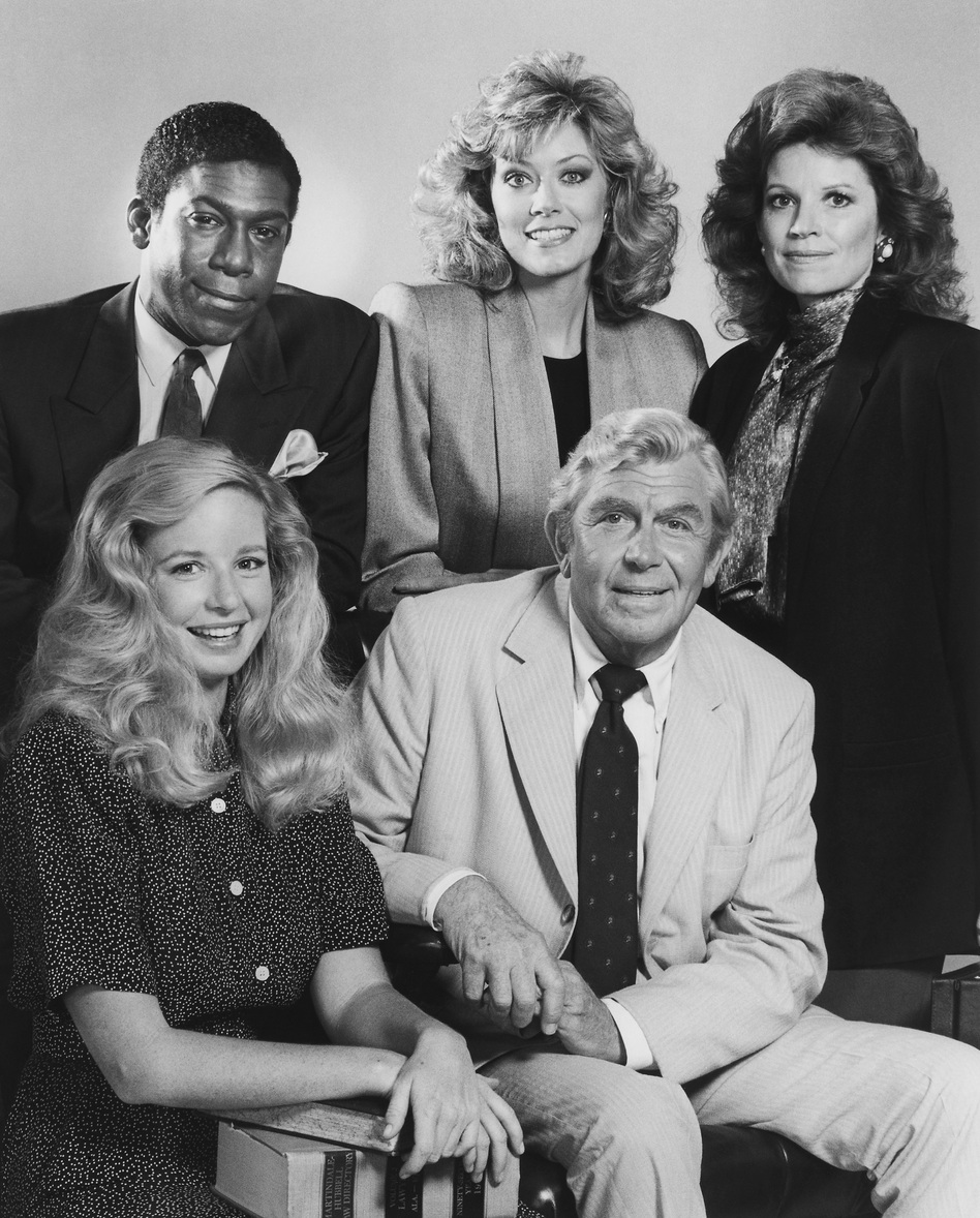 In the drama Matlock, Kene Holliday (top left), Nancy Stafford, Julie Sommars, Griffith and Kari Lizer played a criminal defense team that often came out on top. (NBCU Photo Bank)