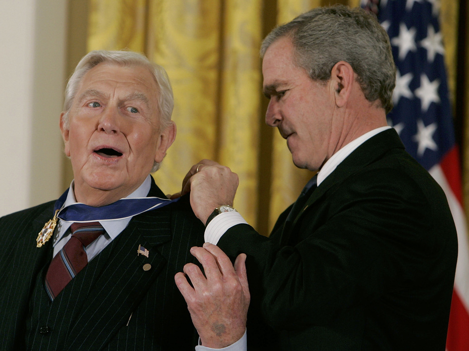 "In 2005, President George W. Bush honored Griffith with the Presidential Medal of Freedom for ""demonstrating the finest qualities of our country."" (Getty Images)"