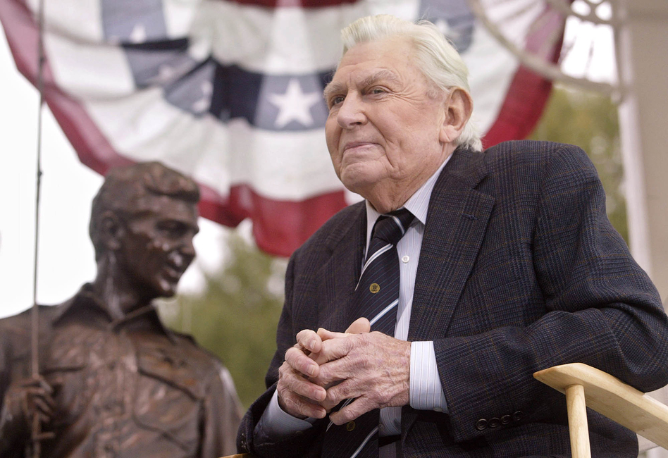 Griffith attends the 2003 unveiling of a bronze statue of the characters Andy and Opie from his hit TV series The Andy Griffith Show in Raleigh, N.C. (AP)