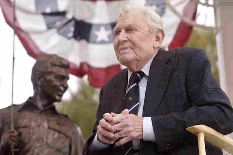 Griffith attends the 2003 unveiling of a bronze statue of the characters Andy and Opie from his hit TV series The Andy Griffith Show in Raleigh, N.C.