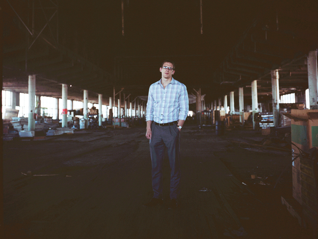 Nick Easley, director of strategic initiatives for Union Station Technology Center, stands inside the former Studebaker plant. The center hopes to expand its business into the old building.