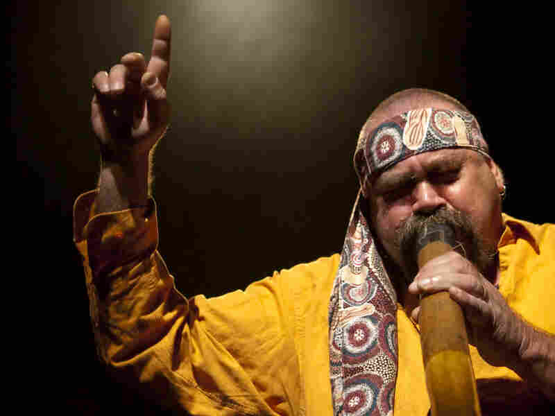 Aboriginal songwriter and didgeridoo player Mark Atkins performs with The Black Arm Band Company.