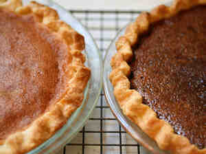 A Northeastern Bakewell Pie (left) and Western