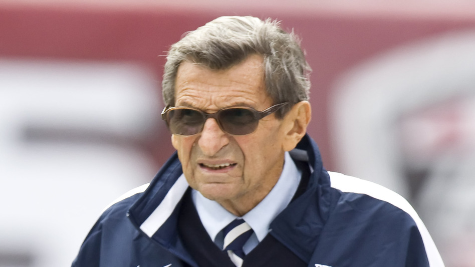 Joe Paterno walks the sidelines during warm-ups before a game between his Penn State Nittany Lions and the Temple Owls in Philadelphia last September. Paterno, who died in January, was fired on Nov. 9, four days after Jerry Sandusky was initially arrested on charges of sexually abusing 10 boys. (AP)