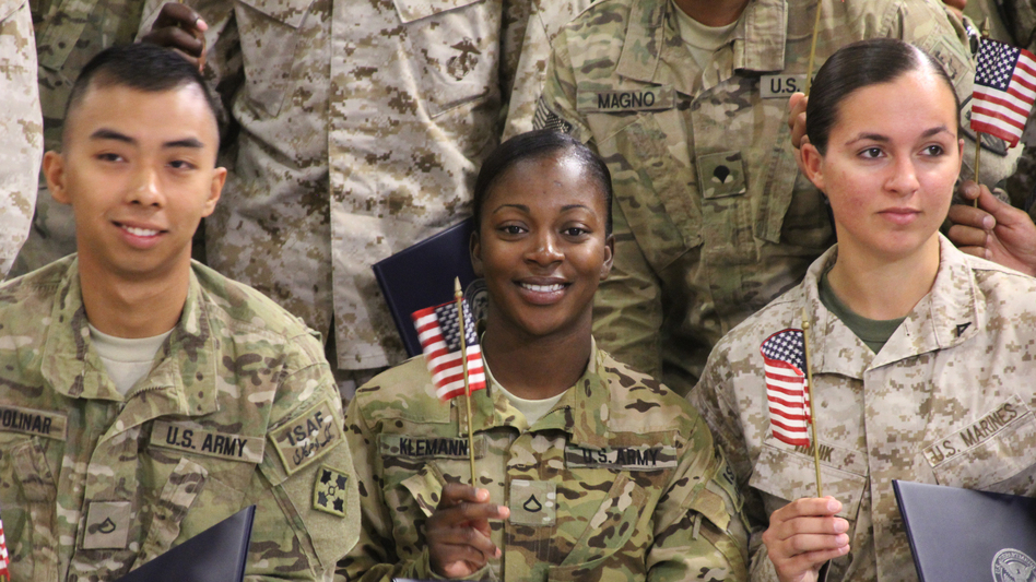 Army Pfc. Shaeyon Klemann was born in Jamaica before moving to Richmond, Va., at age 19 to live with her father. (NPR)