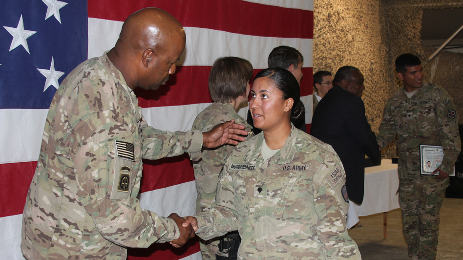 Army Spc. Griselda Murorodarte was born in Mexico and grew up in California. (NPR)