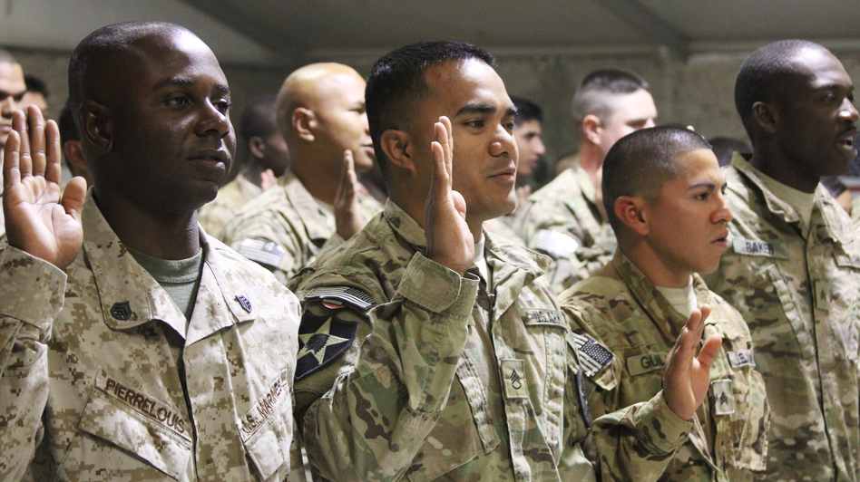Troops from 24 countries became U.S. citizens at the naturalization ceremony. (NPR)