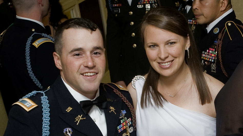Capt. Jared Larpenteur and his wife, Clare, attend a military ball in Fayetteville, N.C., last December. (Fayetteville Observer)
