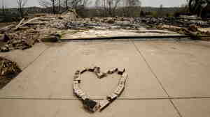 A heart made of bricks from a home destroyed by the Waldo Canyon Fire in Colorado Springs, Colo.