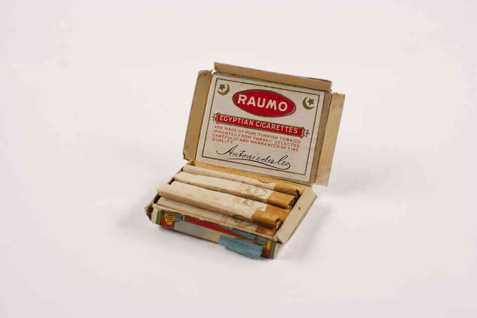 "A Raumo Egyptian cigarettes package from 1914-15 contained an accompanying ""coaching note"" in Chinese. Hopeful immigrants would memorize answers to make sure they were responding to questions from immigration officials correctly. A note was found hidden in this pack and reads, ""Grandmother bound feet. Chun Seak with me not recognize. Sure remember."""