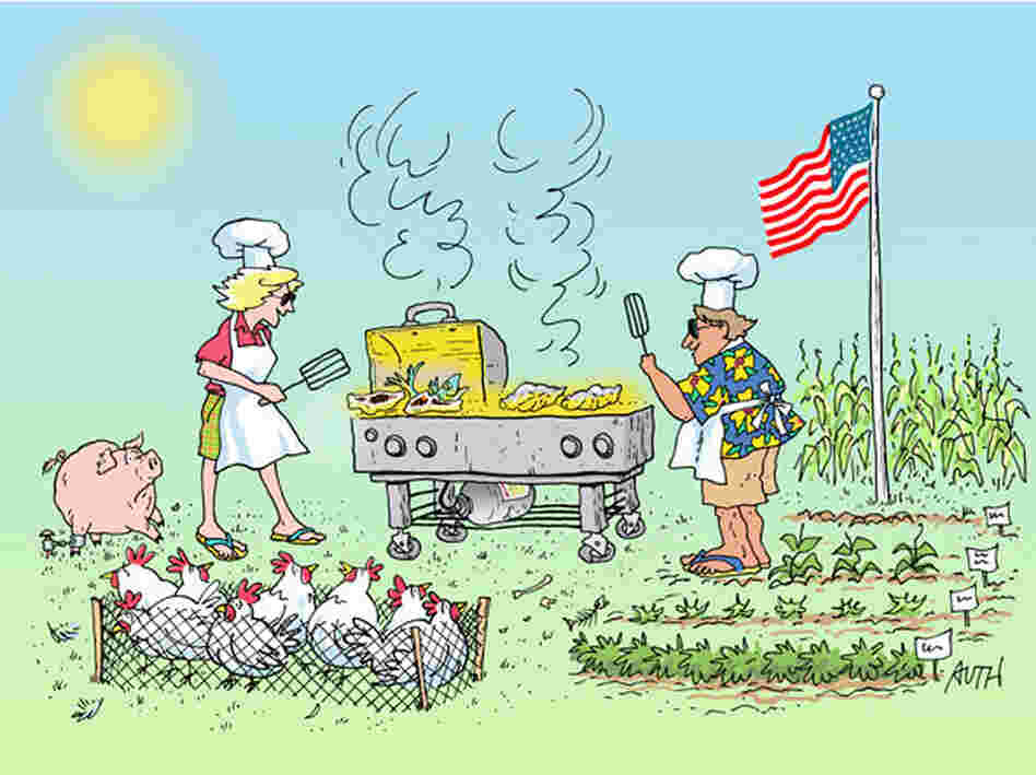 Bridget Lancaster and Jack Bishop prepare a traditional summer barbecue, as imagined by WHYY's artist-in-residence, Tony Auth.