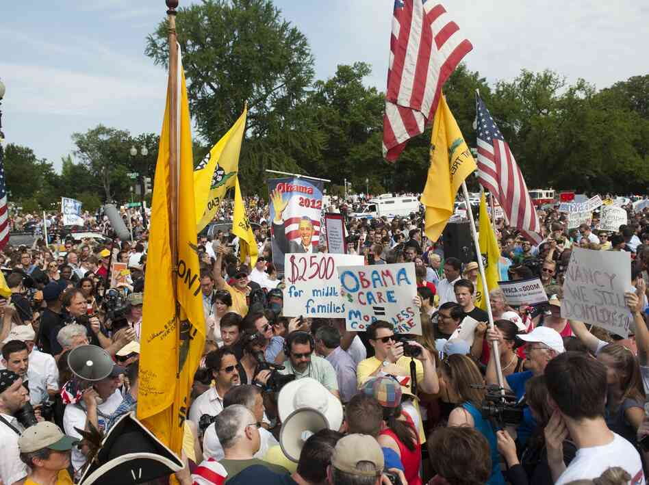 Tea Party protesters demonstrate against the Supreme Court ruling upholding the constitutionality of the Affordable Healthcare Act outside the Supreme Court in Washington, D.C. on June 28.