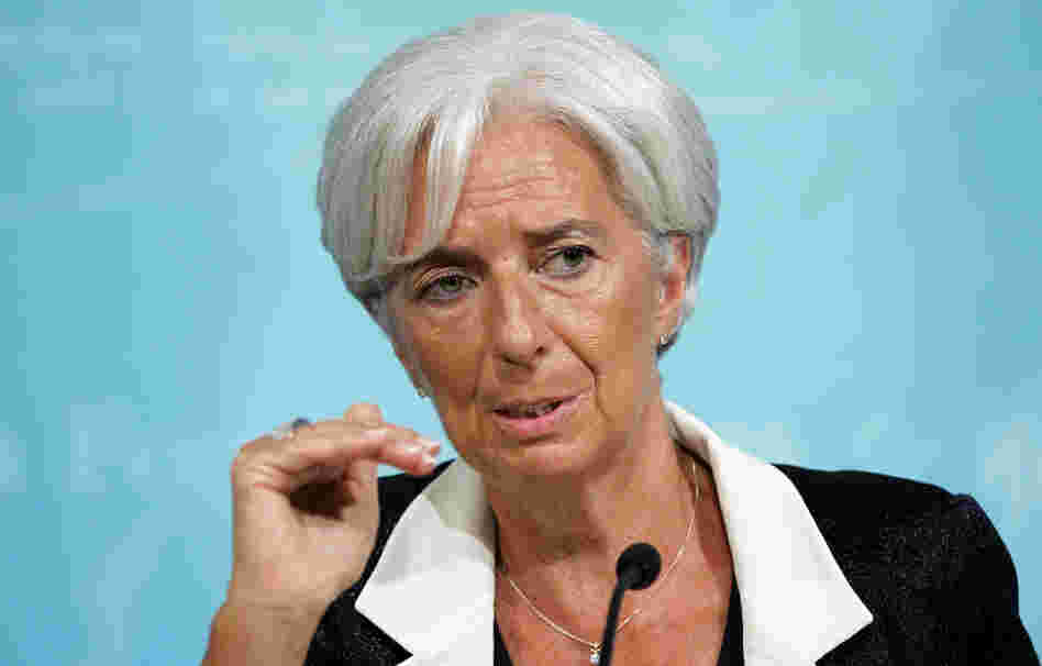 International Monetary Fund Managing Director Christine Lagarde speaks during a news conference on Tuesday in Washington.