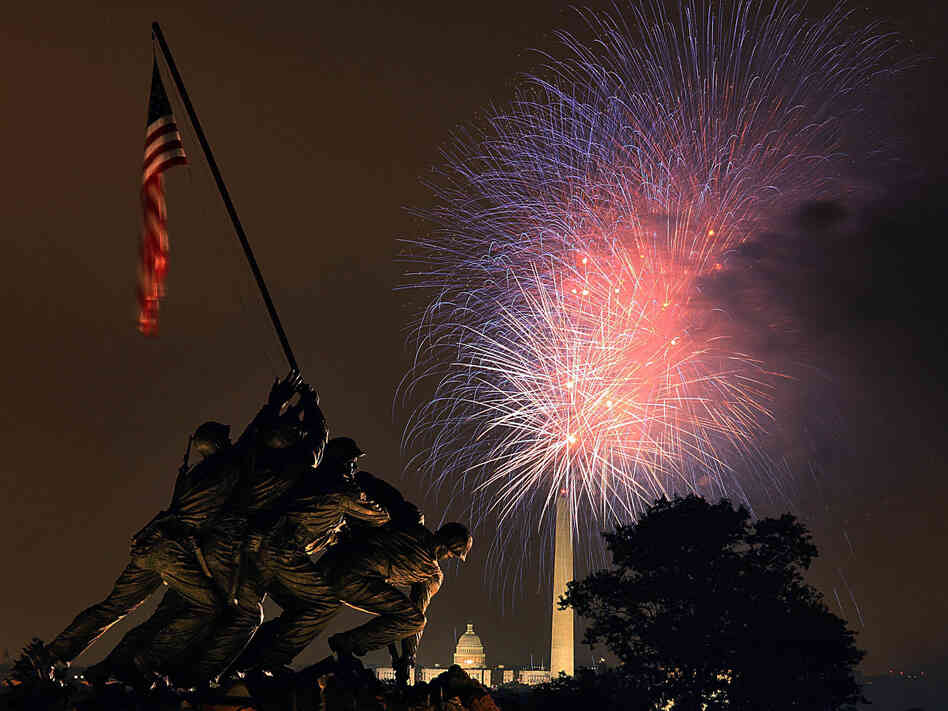 Fireworks over the National Mall in Washington, D.C., on July 4, 2008. Photo taken from hear the U.S. Marine Corps War Memorial in Arlington, Va.