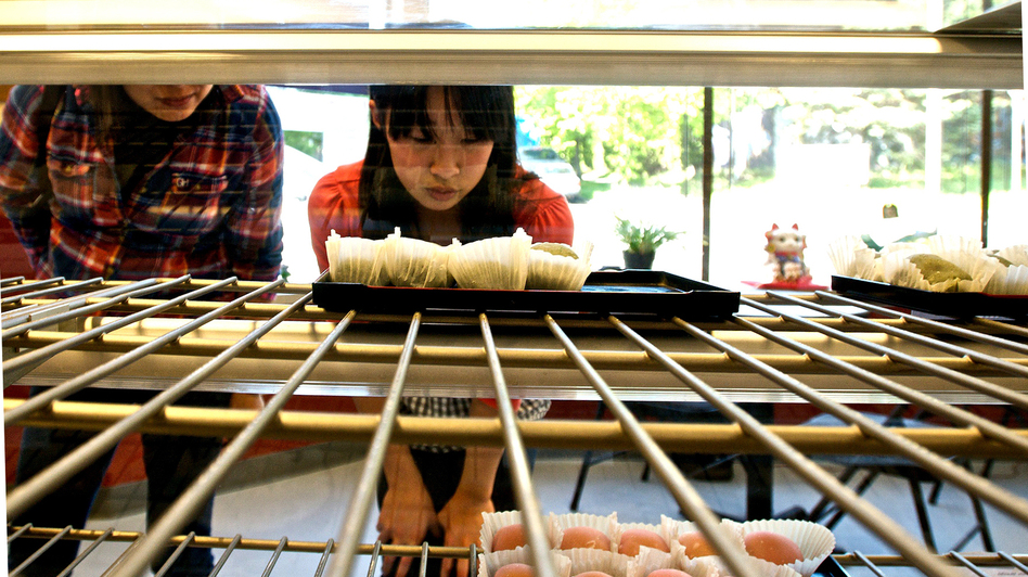 The Umai Do Japanese Sweets bakery is popular with local Japanese Americans and Japaese tourists. Owner Art Oki is also working to grow his customer base beyond people of Japanese descent.  (Florangela Davila for NPR)