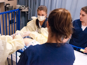 Nursing students in a simulation lab at the University of Virginia School of Nursing.