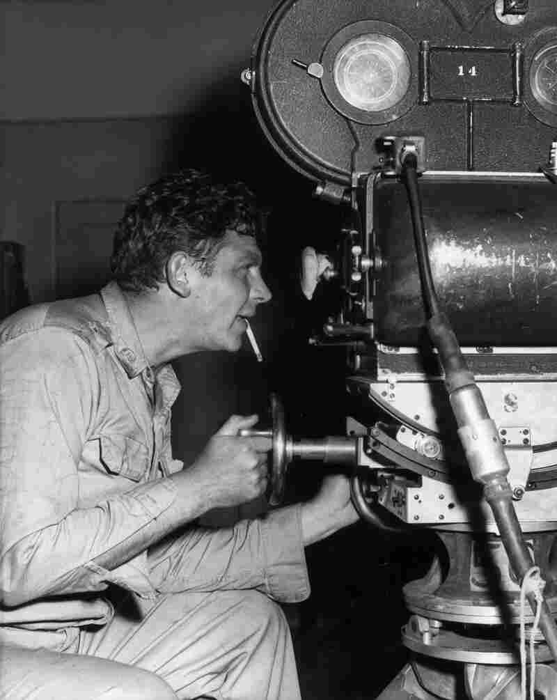 Griffith on the set of the 1958 film No Time for Sergeants. Griffith starred in the live television, Broadway and film adaptations of Mac Hyman's 1954 novel.