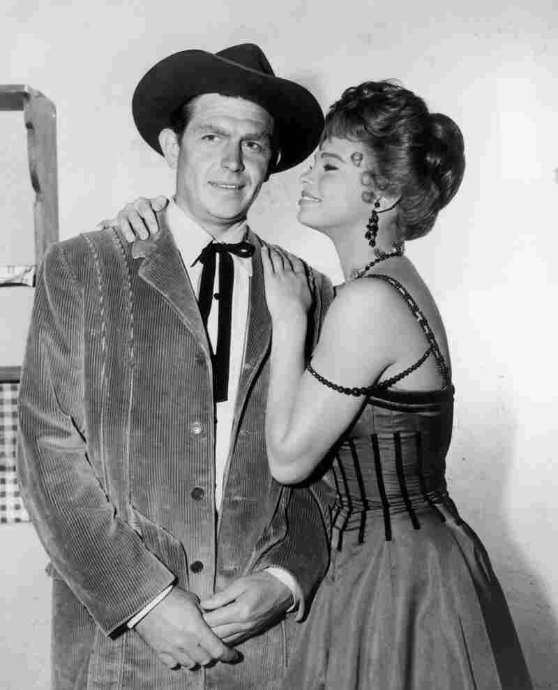 Griffith and Juliet Prowse pose on the set of The Second Time Around, a 1961 Western comedy starring Debbie Reynolds as a widow who moves from New York to Arizona.