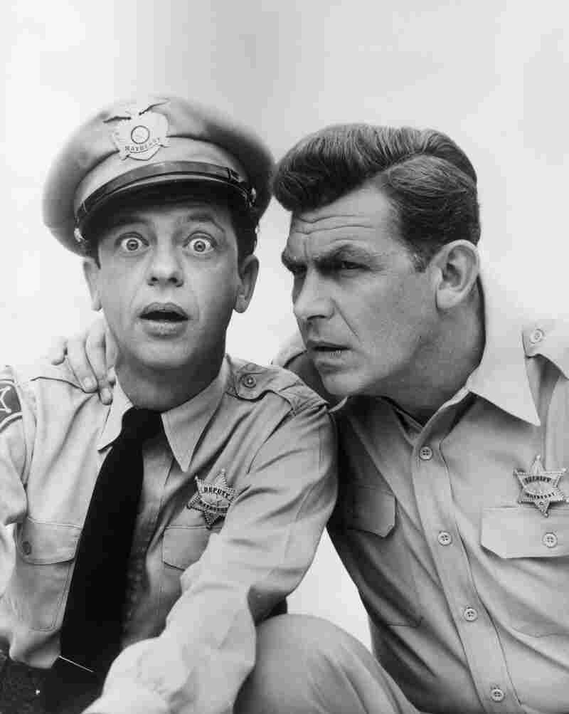 Don Knotts played bumbling Deputy Barney Fife to Griffith's Sheriff Andy Taylor on the sitcom The Andy Griffith Show.