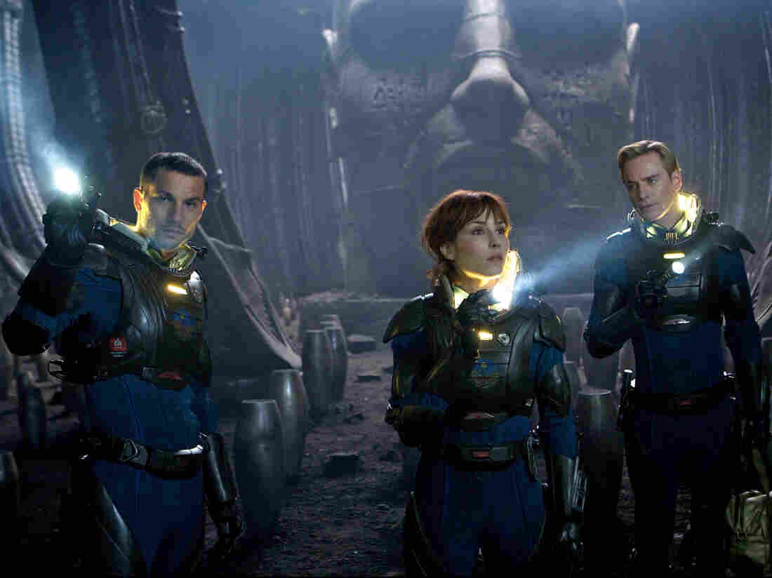 Logan Marshall-Green (left), Noomi Rapace and Michael Fassbender in Prometheus.