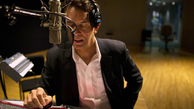 Brian Stokes Mitchell records A Lincoln Portrait at NPR's Studio 4A in April.