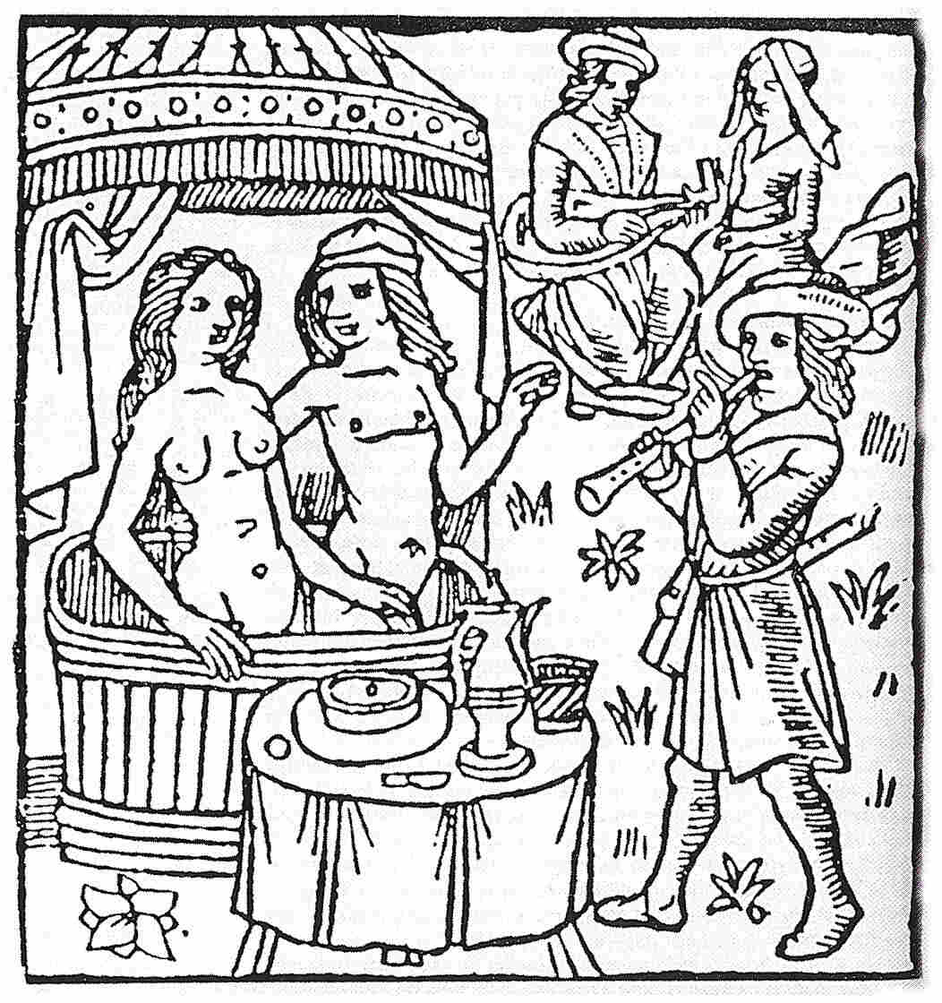 Just what was on the menu here? A 15th century woodcut shows nude bathers preparing to enjoy a pie.