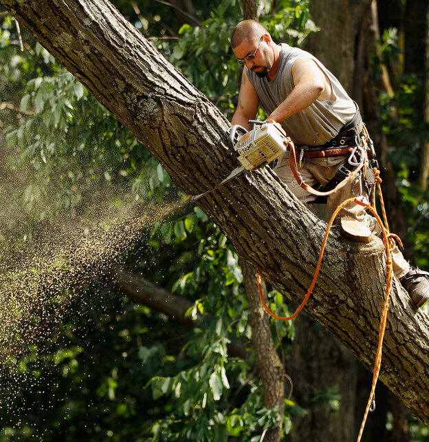 In Silver Spring, Md., on Monday, Matt MacCartney was one of many workers dismantling fallen trees that took down power lines.